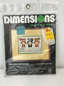 Vintage Dimensions Counted Cross Stitch Three Bears Baby Birth Record Kit 3537