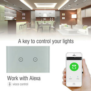 2 Gang Smart WIFI Glass Panel Touch Wall Control Light work w/ Amazon ALEXA + US