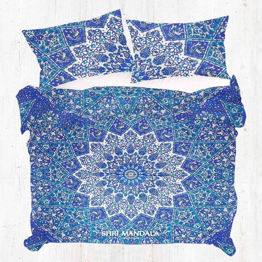 bluee Base White Elephant Star Bohemian Mandala Doona Cover Duvet Cover Bedding