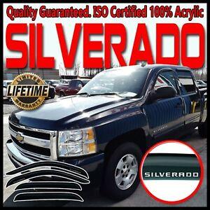 For Chevy 07-13 Silverado Crew Cab Side Window Rain Guards Deflector Vent Visors