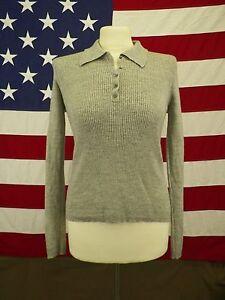 Banana-Republic-Sweater-Extra-Fine-Italian-Merino-Wool-Shirt-Gray-Size-M