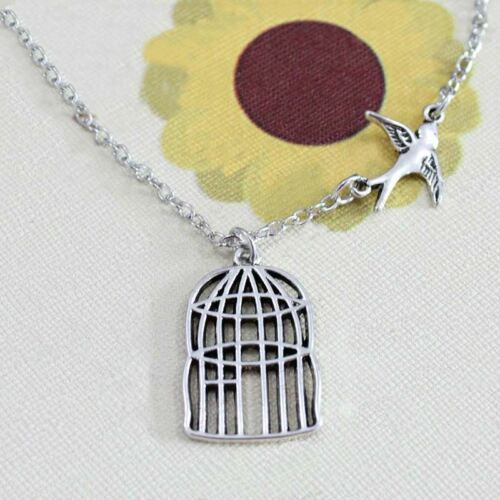 925 Silver Plt Song Bird Set Free Cage Engraved Pendant Necklace Swallow 18 A
