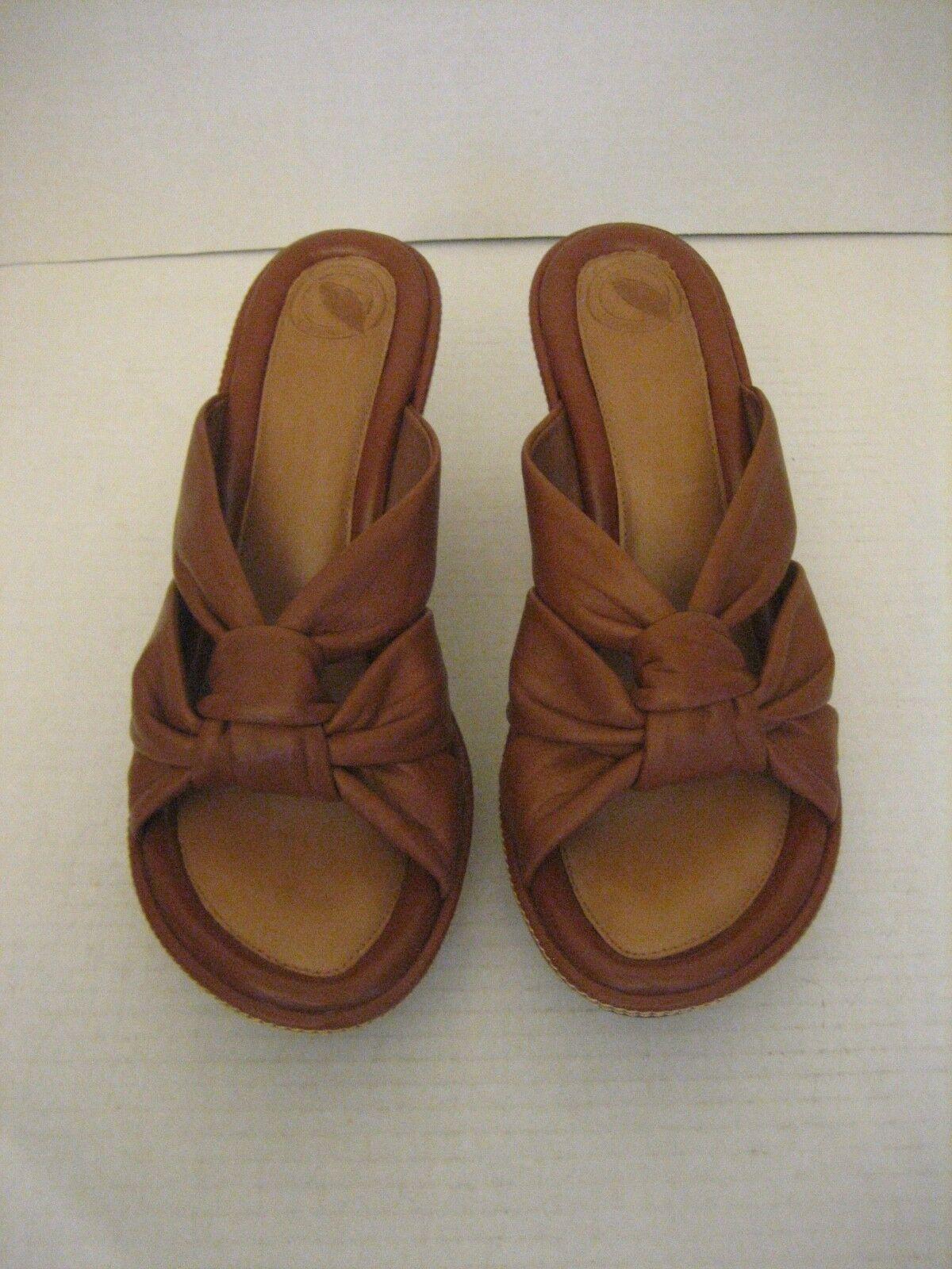 Nurture Women's Brown Leather Cork Wedge High Heel Slip On shoes Sz 7 1 2 NWNB