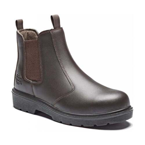 DICKIES SUPER DEALER BOOTS CHELSEA BROWN LEATHER STEEL TOE WORK  Size 7-12
