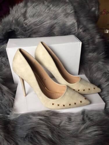 Femme Rose et Beige Talons Hauts Avec Rivets DORES Femme Stiletto Cour Chaussures 4-8