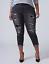 New LANE BRYANT $80 Black Destructed Sequin Backed Girlfriend Jeans Plus 22W 24W