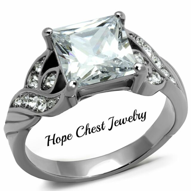 HCJ WOMEN'S STAINLESS STEEL 2.9 CARAT PRINCESS CUT ENGAGEMENT RING SIZE 6, 7
