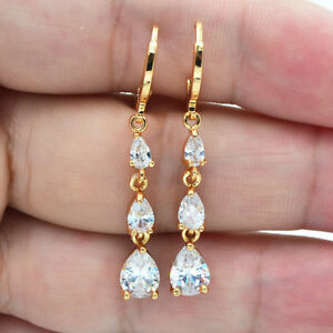 Details About 18k Yellow Gold Filled Teardrop Clear Topaz Zircon Long Drop Earrings Wedding
