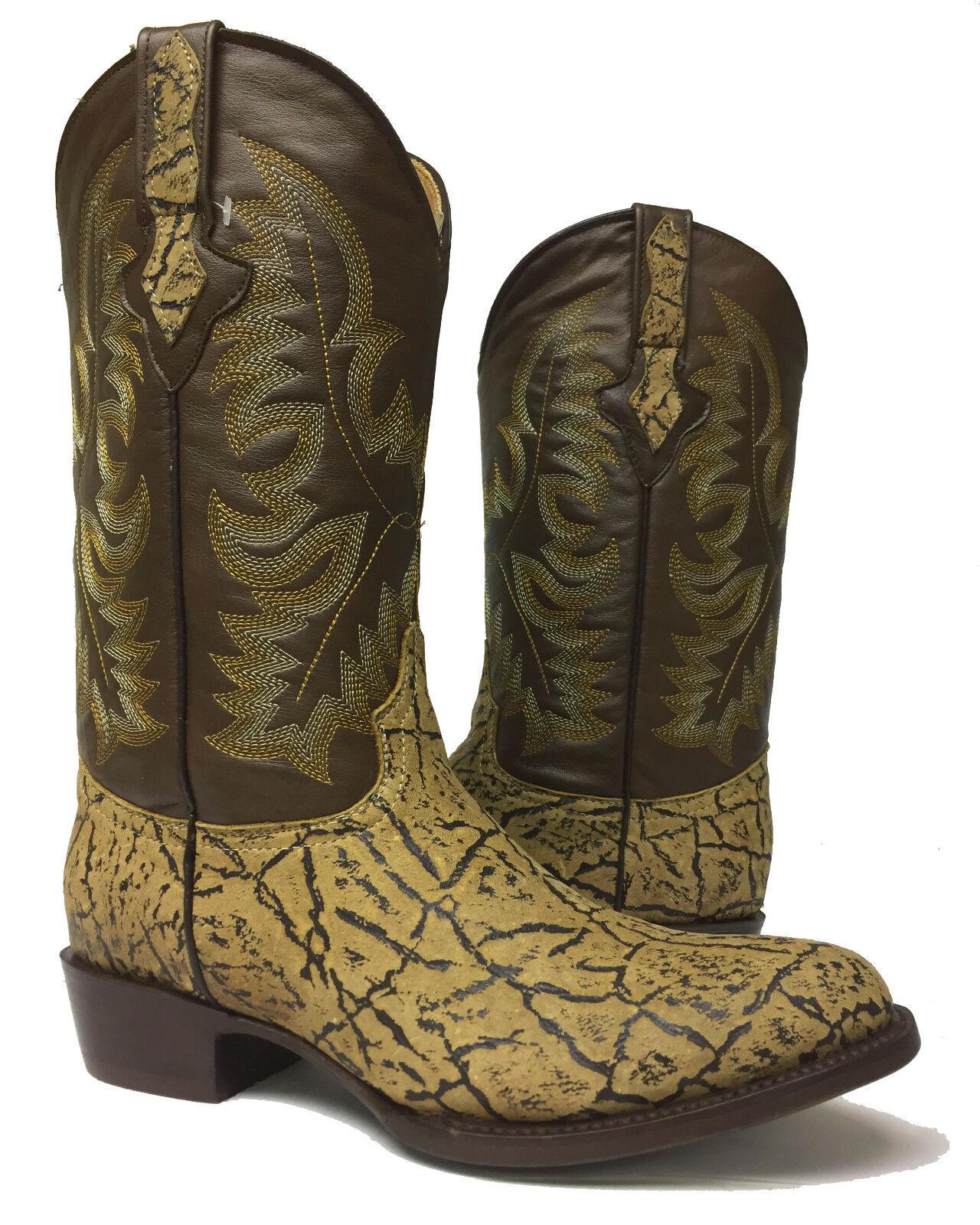 Para hombres cuero diseño de Toro Beige Arena Elefante botas de vaquero occidental rojoondo exótico