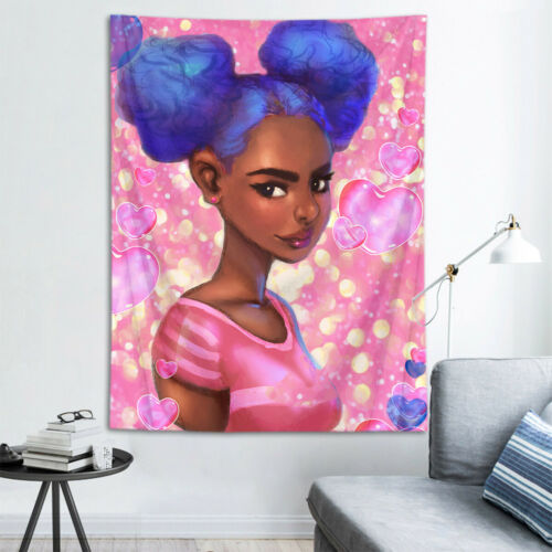 Polyester Dorm Tapestry Love Heart Afro African Black Girl Wall Hanging Blanket