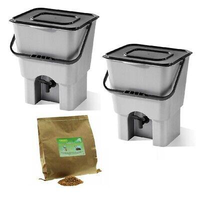 Two Bokashi Bucket Kitchen Composter /& Bran 2 x 18L Plastic Bins