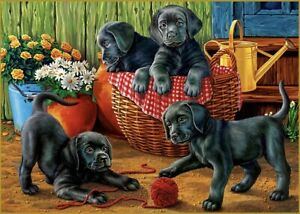 "Puzzle 1500 pieces 85*58 cm.""Black Labradors in the Garden"" Red Cat ХАП1500-4461"