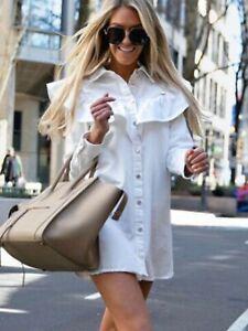 Details about Zara Women Shirt Collar Denim Mini Dress Oyster White 6929/004
