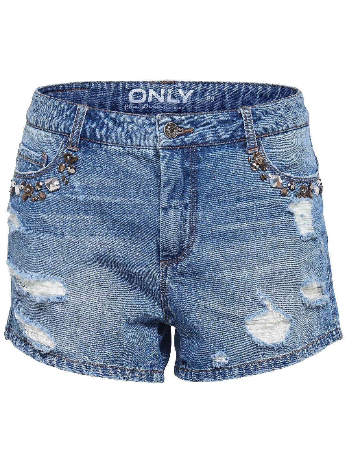 44/8 NEU ONLY Damen Jeans Hose Hotpant onlPACY HW ZOE STUD DNM SHORTS kurz W 29