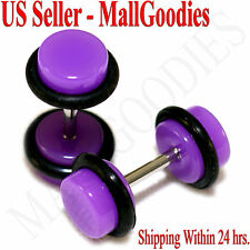 2032 Purple Violet Fake Cheater Illusion Faux Ear Plugs 16G Bar 2G = 6mm - 2pcs