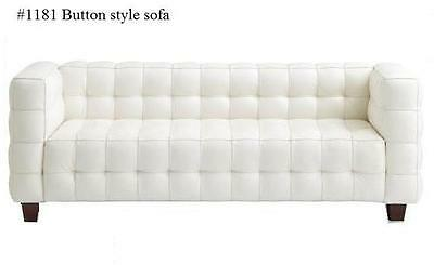 Modern Button Style leather Sofa #1181 in Black or White leather