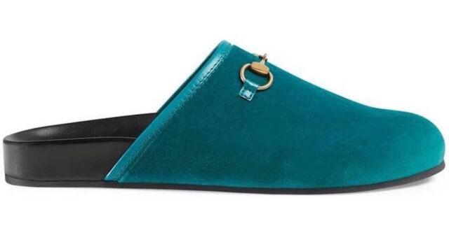b5726ce6058 NIB Gucci Horsebit New River Pavone Blue Velvet Slide Mule Slipper 36