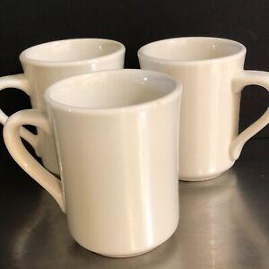 Syracuse-China-Restaurant-Diner-Ware-Mugs-Set-3-White-VTG-Made-USA-Mid-Century