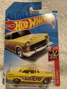 2018 Hot Wheels #12 HW Flames 2/10 '55 CHEVY Yellow w/Chrome 5 Spoke 50th Annive