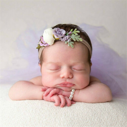 Newborn Photo Props Bracelet Headband Set Baby Glass Pearl Bracelets Shower Gift