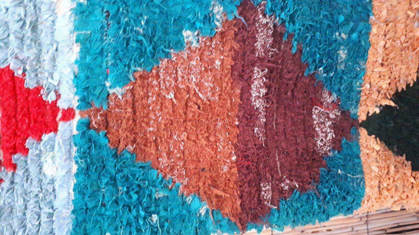 Vintage Moroccan boucherouite Rag Rug 203 x x x 150 cm | Large Sélection  5e1249
