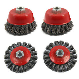 4pc-Twist-Knot-Semi-Flat-Wire-Wheel-Cup-Brush-Set-Kit-To-Fit-115mm-Angle-Grinder