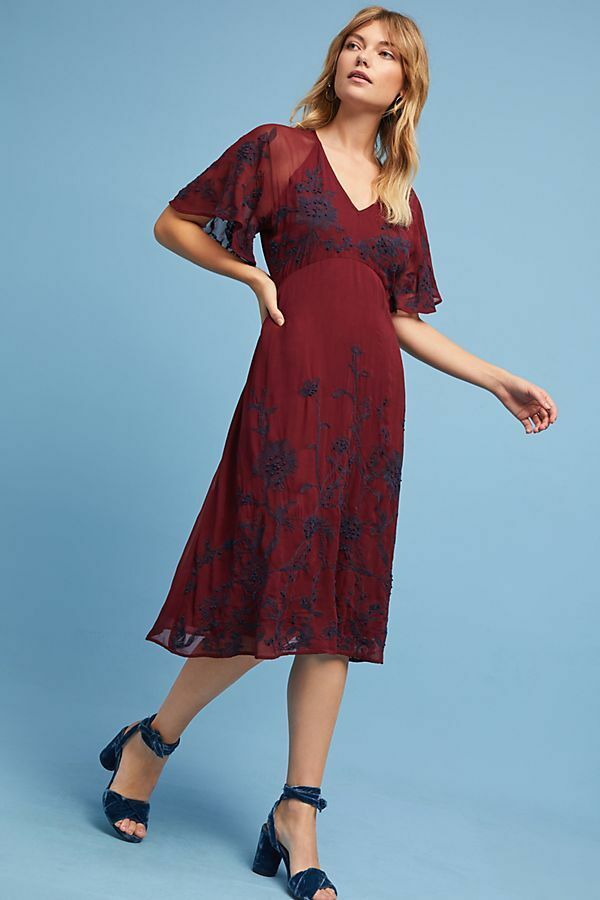NWT ANTHROPOLOGIE Francoise Embroiderot Dress by Maeve, Sz 0, Burgundy Midi