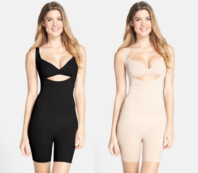 Deluxe Spanx Slimming Shapewear Thinstincts Open-Bust Mid-Thigh Bodysuit Very Black or Soft Nude