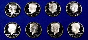 1971-through-1979-Clad-Proof-Kennedy-Half-Dollar-Set-Gem-Proof-8-Coins