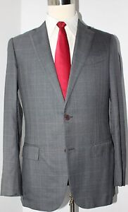 Zegna-Trofeo-600-Gray-Plaid-Two-Button-Side-Vented-Wool-Silk-Suit-38-R-33-32