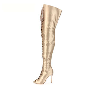d7265644a18 Women Peep Toe Lace Up Over the Knee Boots Gold Satin Thigh High ...