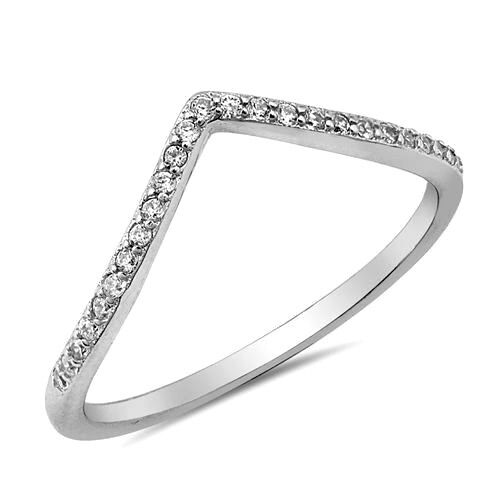 USA vendeur Tiny v-ring sterling silver 925 BEST DEAL Clair Zircone cubique bijoux Taille 11