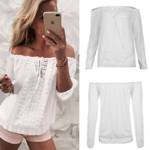 966bd65009d777 Details about Womens Ladies Off Shoulder Gypsy Bardot Top Lace Up Ruched  Boho Blouse T Shirt