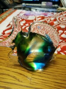 Murano-art-glass-colorful-fish-vibrant-colors-4x5-heavy-vintage-80s