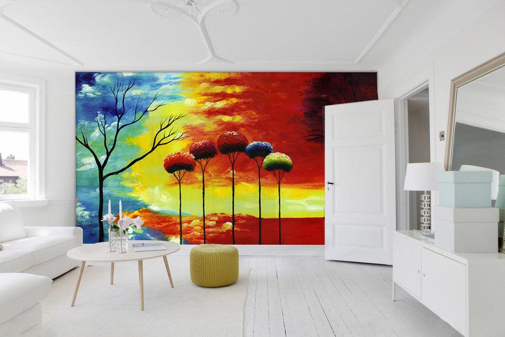 3D Painted Tree 475 Wallpaper Murals Wall Print Wallpaper Mural AJ WALL UK Lemon