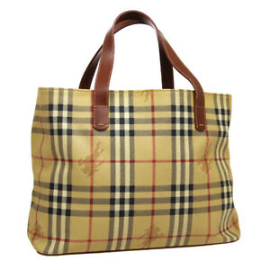 BURBERRY House Check Hand Bag Purse Beige Brown PVC Leather Italy A53915