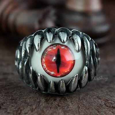 Men's Dragon Teeth Bloody Red Cat's Snake Eye Biker 316L Stainless Steel Ring