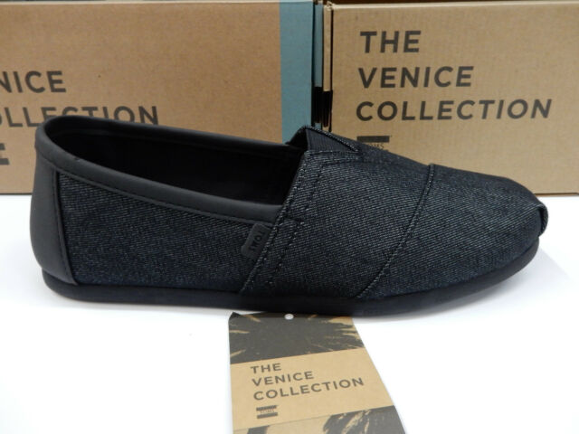Toms Mens Classic Black Heavy Denim with Synthetic Trim Size 8.5