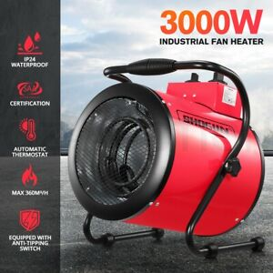 3000W Portable Electric Industrial Fan Heater Free Standing Carpet Dryer Red