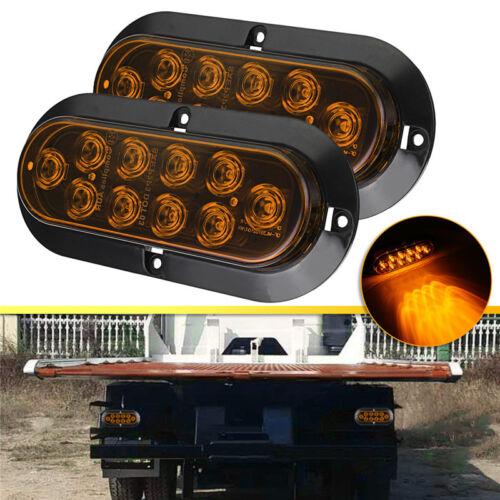 2x 10 LED Amber Oval Side Marker Light Brake Turn Signal Lamp For Truck Trailer