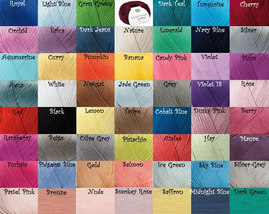 ***ALL COLOURS*** RICO DESIGN ESSENTIALS COTTON DK DOUBLE KNITTING YARN 50g