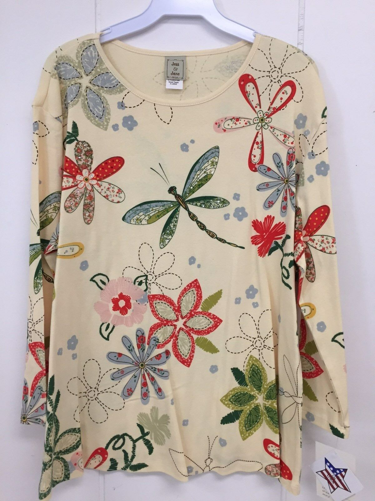 Jess and Jane Good Times Dragonfly Floral Flowers Shirt Size New with Tags