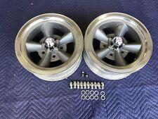 Vintage Pair 5 Spoke Torque Thrust Style Polished Lip 14x6 4 34 Chevy