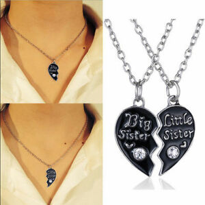 2pcset black heart with crystal big sister little sister pendant image is loading 2pc set black heart with crystal big sister mozeypictures Image collections