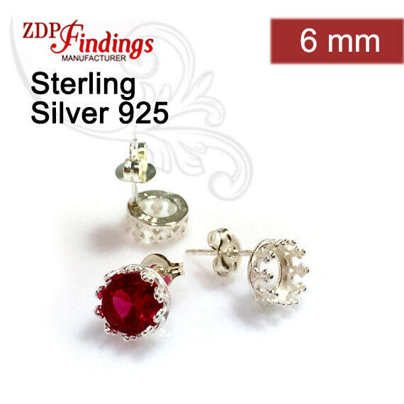 6pcs Quality Cast 6mm Bezel on Post Earring 925 Sterling Silver PO9377SH
