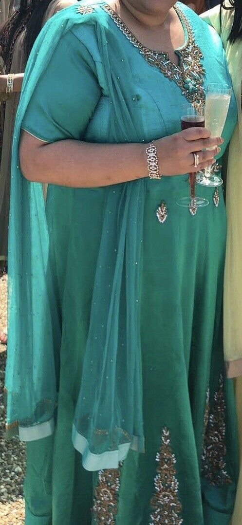 Indian Gown In Emerald Green With Gems - From Leicester UK - RRP