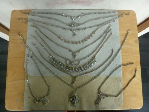 Collection of Vintage 50/'s Rhinestone Faux Costume Jewelry 11-Pieces