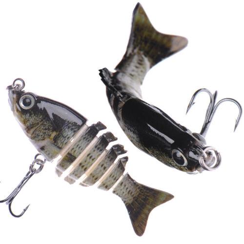 2 Multi Jointed Fishing Hard Lure Bait Swimbait Life-like Bluegill Sinking Bass