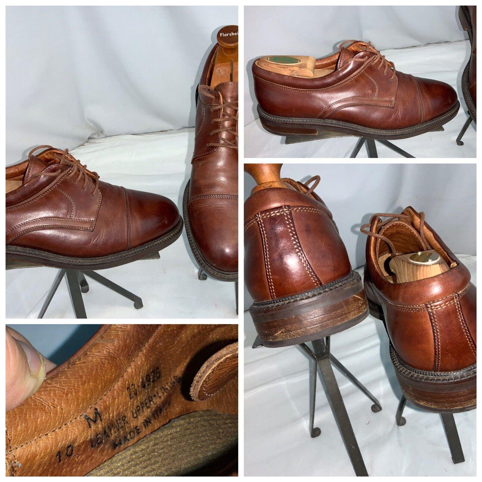 Johnston Murphy Cap Toe Oxford Shoes Sz 10 Men Brown Italy Mint YGI G0S-187