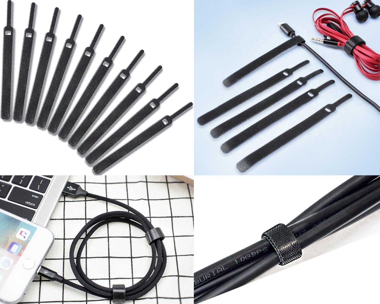 Cable cord wire tie strap organiser USB Nylon hook loop reusable adjust black